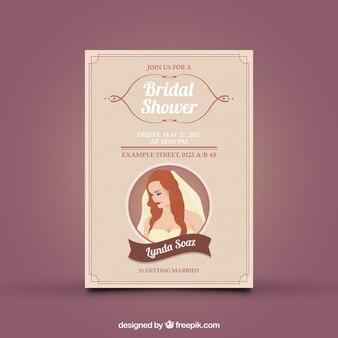 Invitation nuptiale de douche élégante avec la jeune mariée