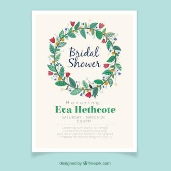Invitation nuptiale de douche fantastique avec couronne de fleurs