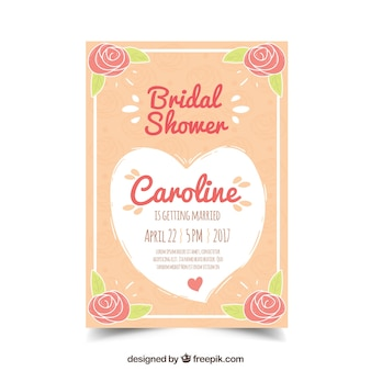 Invitation nuptiale de douche fantastique avec des fleurs et des coeurs