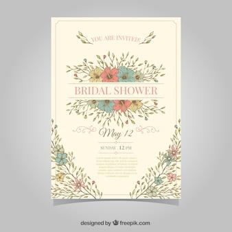 Invitation nuptiale de douche vintage avec des fleurs de couleur
