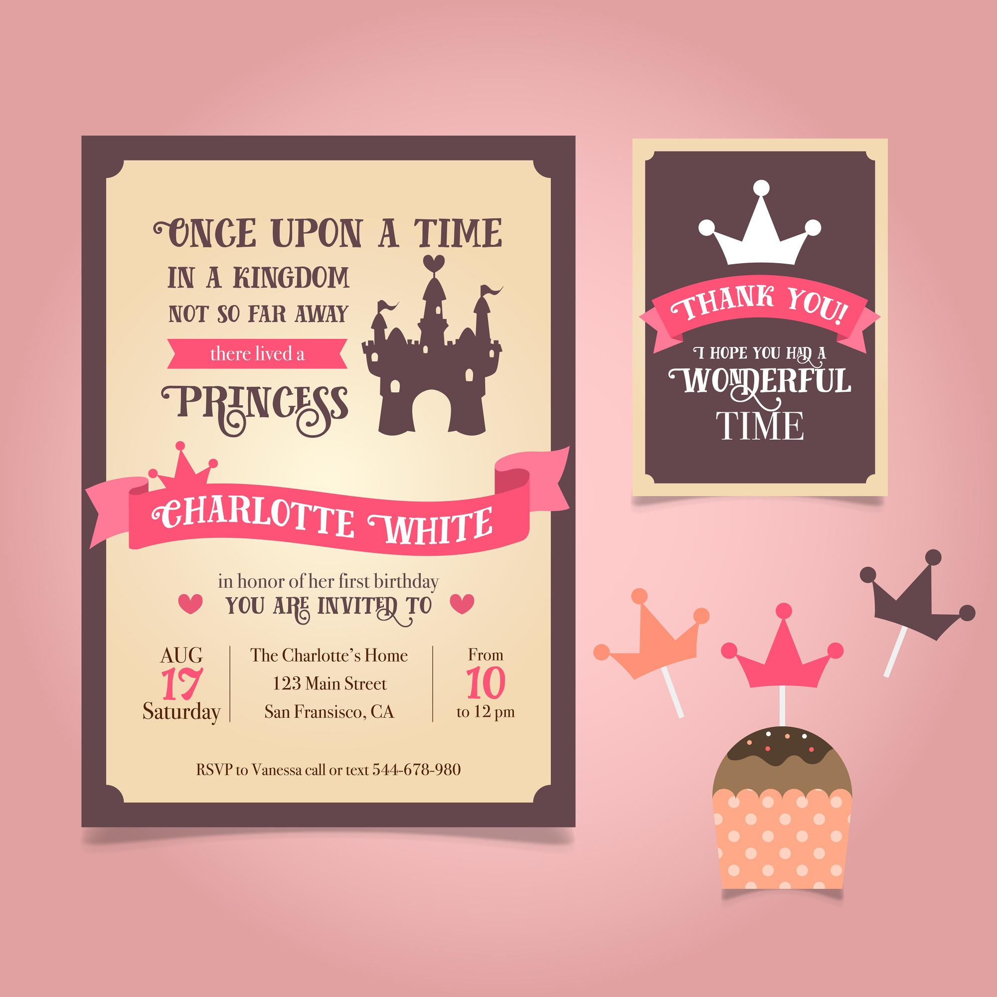 Invitation Princesse Birthday Card
