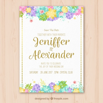 Invitation vintage de mariage floral