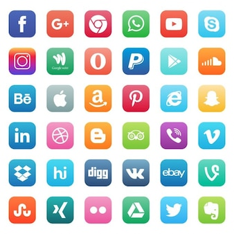 Iphone Glossy icon set social