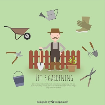 Jardinier avec outils de jardin