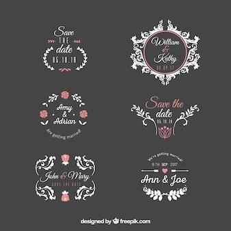 Jeu d'étiquettes de mariage