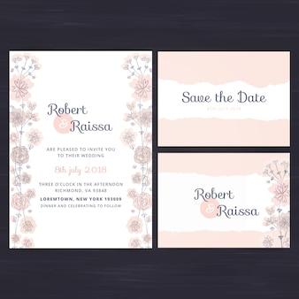Jeu d'invitation de mariage floral
