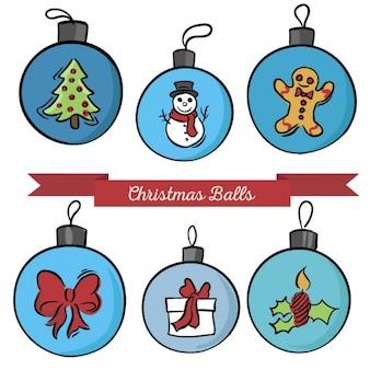 Jeu de boules de Noël avec des dessins