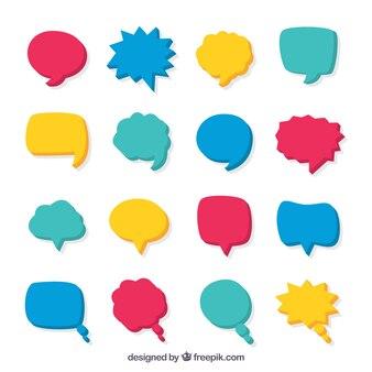 Jeu de discours comique bulles dans des couleurs