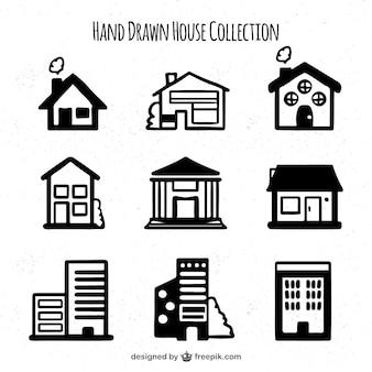 Jeu de main dessiné différentes maisons