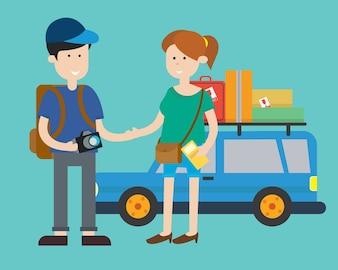 Jeune couple voyageant personnage de dessin animé