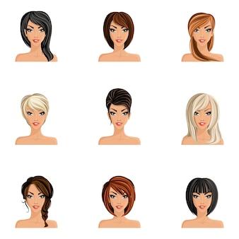 Jeune femme, avatars, ensemble, coupe de cheveux, styles, isolé, vecteur, illustration