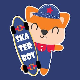 Jeune renard comme illustration de dessin animé vectoriel de garçon de patineur pour un design de chemise d'enfant, un mur de nursery et un fond d'écran graphique