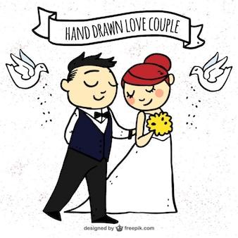 Jeunes mariés dessinées à la main avec des colombes