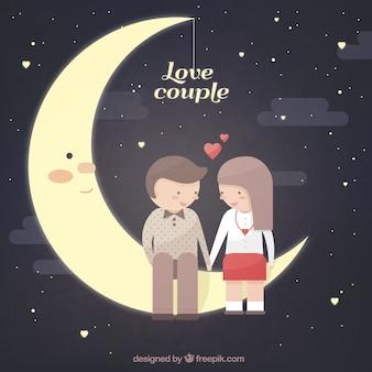 Joli couple assis sur la lune