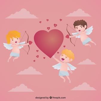 Jolie cupidons fond avec un coeur