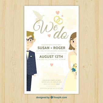 Jolie invitation au mariage avec les jeunes mariés