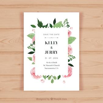 Jolie invitation de mariage avec des fleurs roses