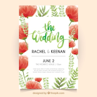 Jolie invitation de mariage floral à l'aquarelle