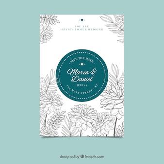 Jolie invitation de mariage floral à la main