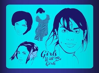 Jolies filles face à des illustrations vectorielles