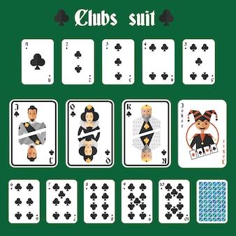 Jouer à la carte, clubs, costume, ensemble, joker, retour, isolé, vecteur, illustration