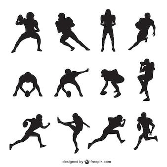 Joueur de football américain silhouettes collection