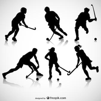 Joueurs de hockey sur glace silhouettes