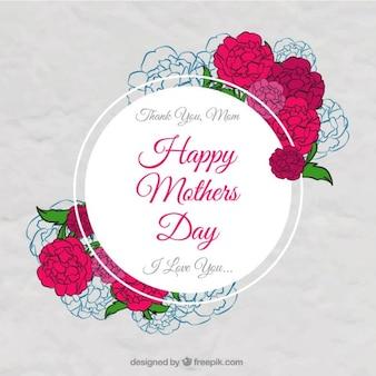 jour badge de Mère avec des roses dessinés à la main