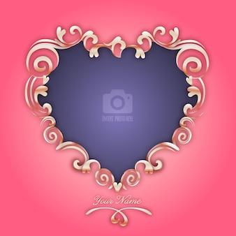 Jour Coeur romantique élégant de cadre photo de la Saint-Valentin