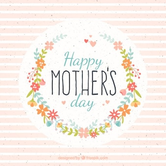 jour de la carte de la mère avec des fleurs et rayures