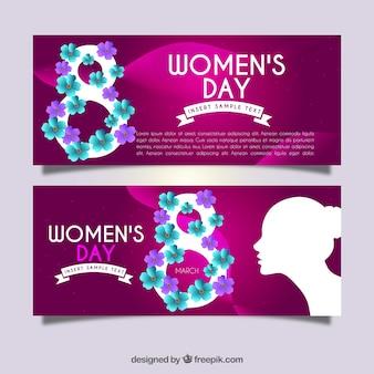 Jour les bannières de la femme avec des détails floraux