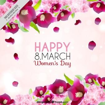 Journée de la femme Fond rose avec des fleurs