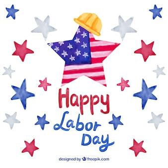 Journée du travail en arrière-plan des USA avec des étoiles aquarelles