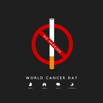 Journée mondiale contre le cancer Non Affiche fumeurs