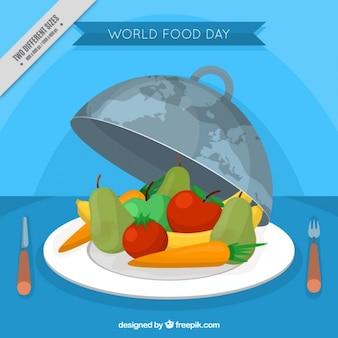 Journée mondiale de l'alimentation de fond avec des fruits sains