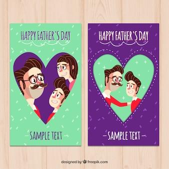 Joyeuses cartes du jour du père avec des coeurs