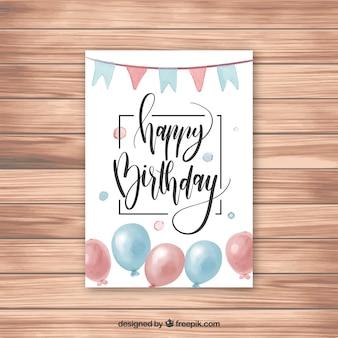 Joyeux anniversaire carte de voeux avec des confettis