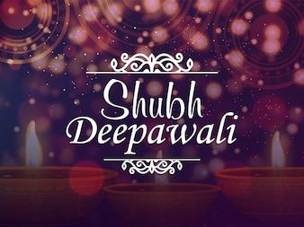 Joyeux décor de Diwali avec lampes illuminées et texte élégant Subh Diwali.