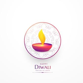 Joyeux diwali simple salutation avec vibrant diya