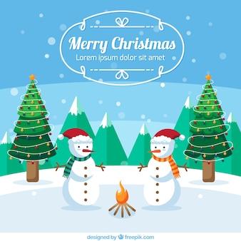 Joyeux Noël avec des bonhommes de neige mignon
