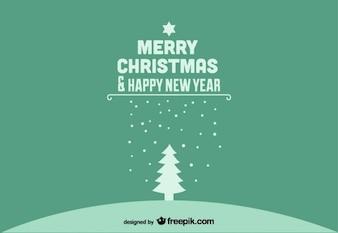Joyeux noël et bonne année carte postale verte