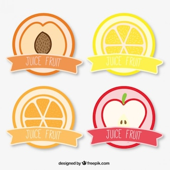 Juice collection d'étiquettes de fruits