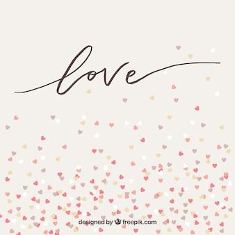 L'amour de fond avec petits coeurs