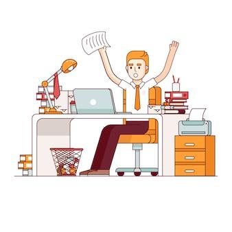 L'employé surchargé de travail fait beaucoup de paperasserie