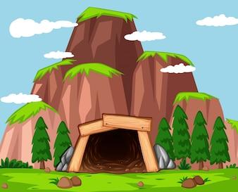 L'entrée de ma mine à l'illustration de la montagne