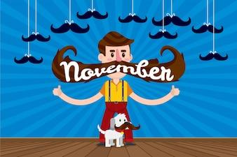 L'homme et le chien avec une énorme moustache pour movember