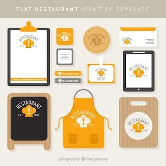 L'identité d'entreprise pour un restaurant dans le style plat