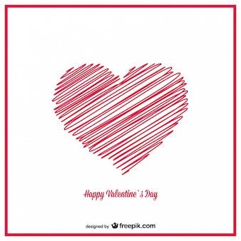 La conception de carte de coeurs de croquis dessinés à la main valentine
