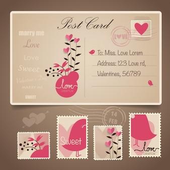 La conception de carte postale de la Saint-Valentin