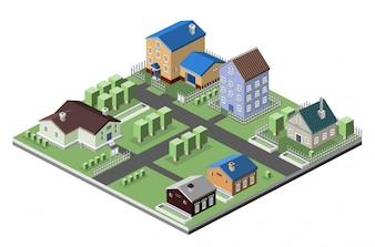 La conception du village isométrique